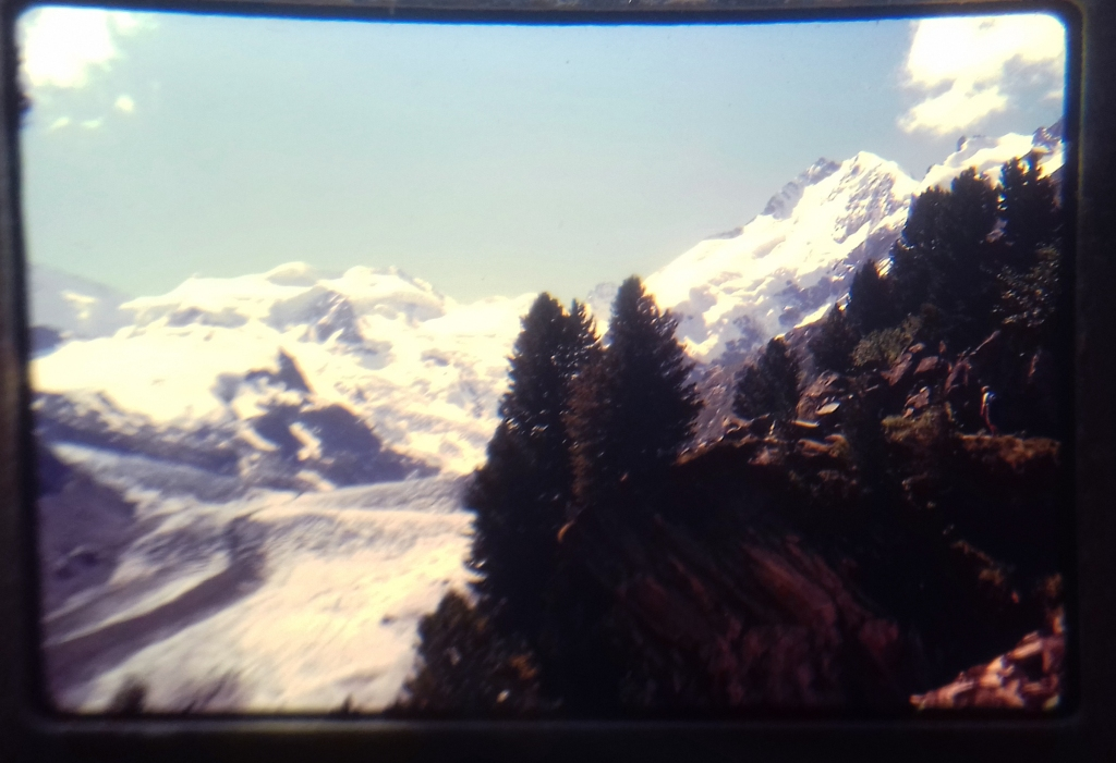 A photograph of the Swiss Alps.